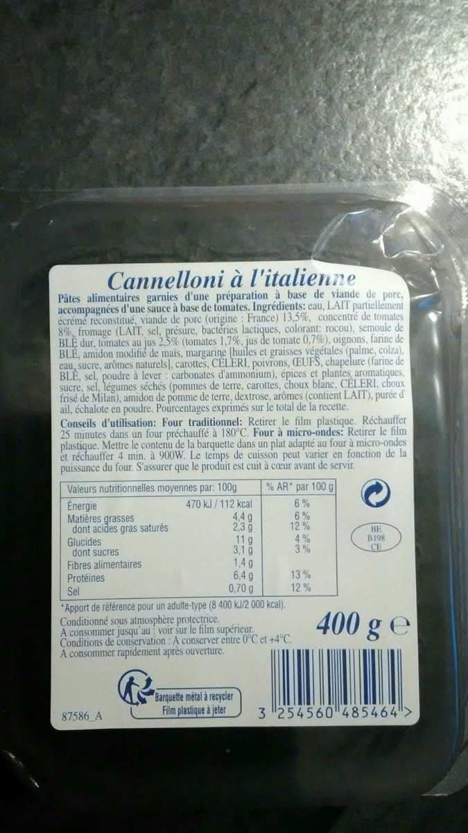 Cannelloni à l'italienne - Ingrédients - fr