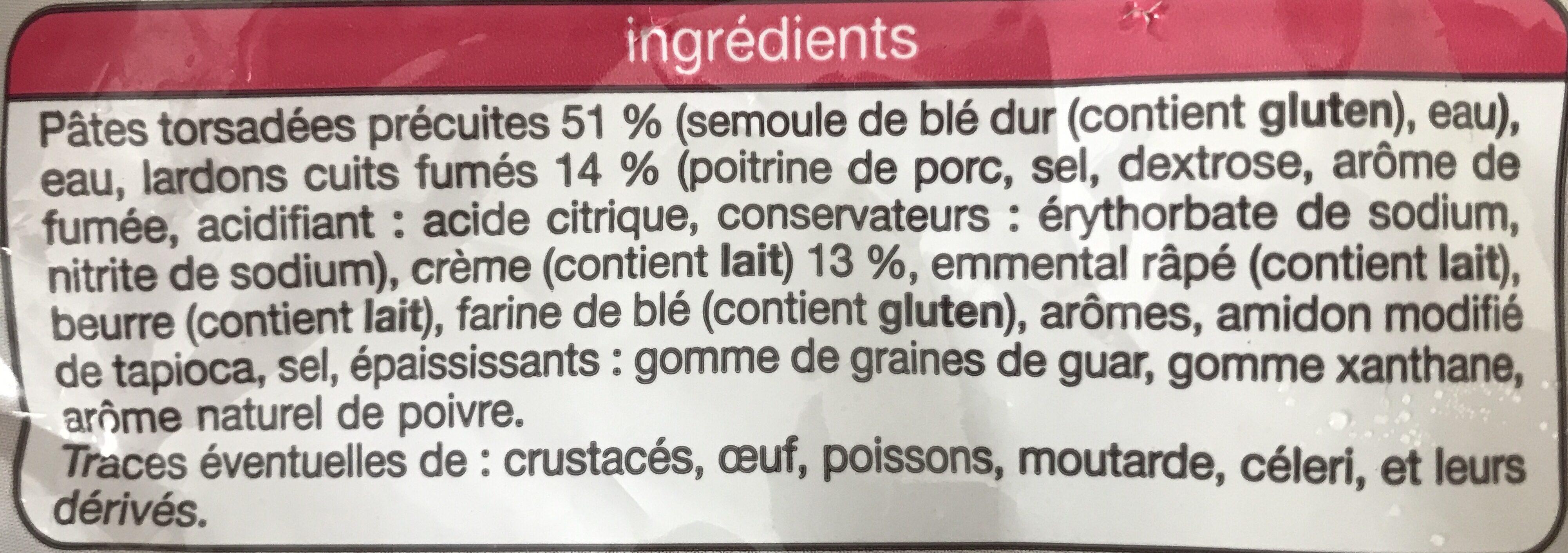 Torsades A La Carbonara Auchan - Ingrediënten - fr