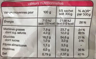 Torsades A La Carbonara Auchan - Voedingswaarden - fr