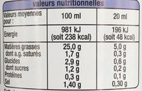 Vinaigrette allégée Nature - Nutrition facts