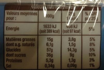 Mini Roulés Chocolat - Nutrition facts