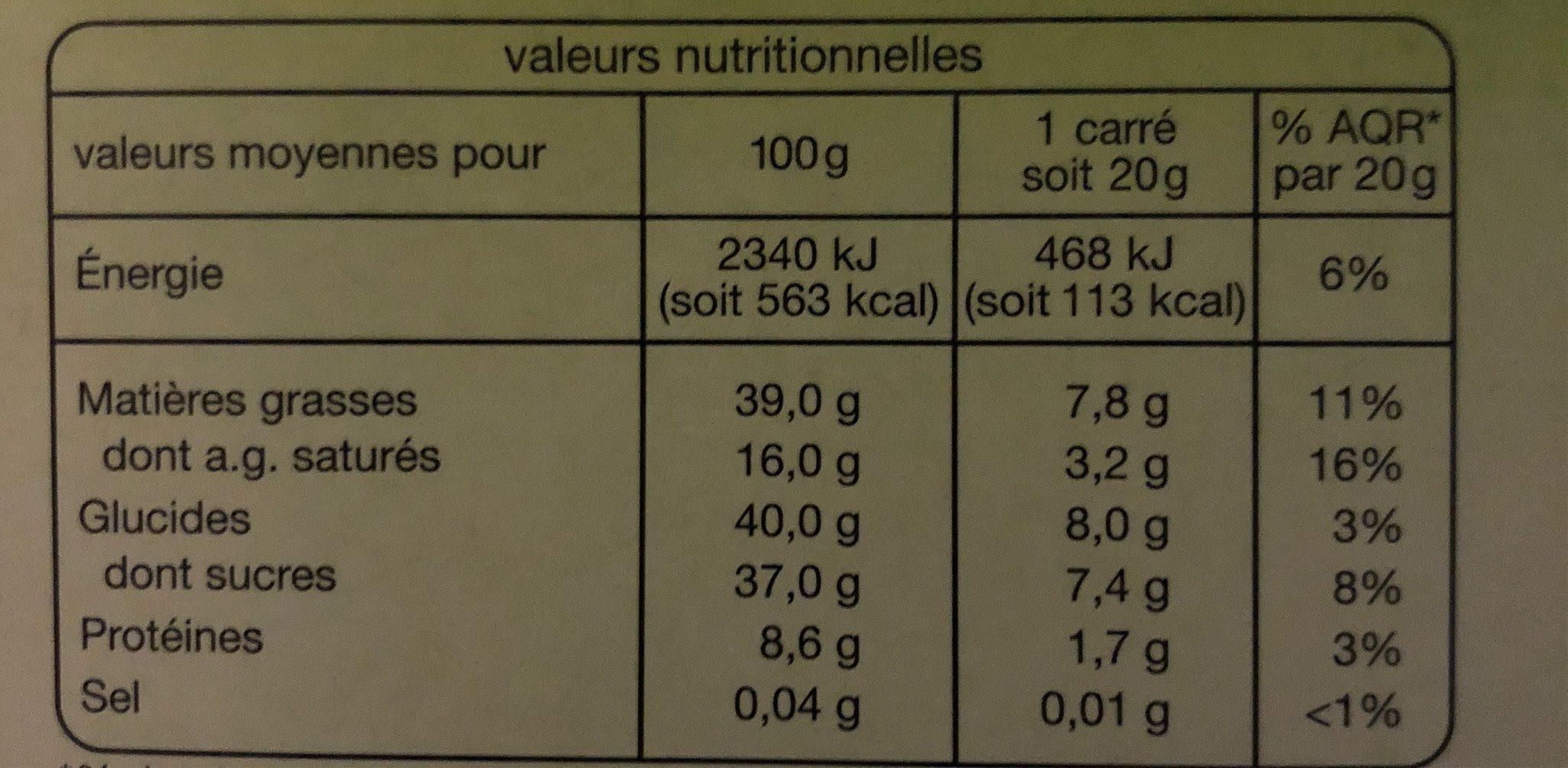Noir noisettes entières - Nutrition facts - fr
