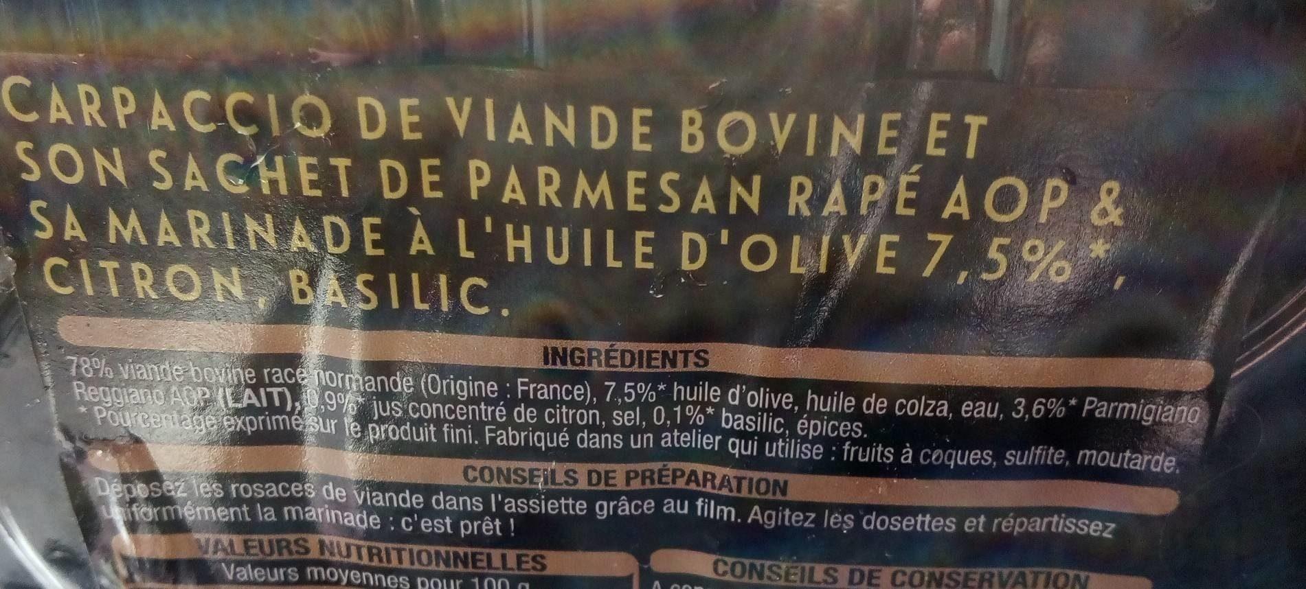 Carpaccio parmigiano reggiano aop - Ingrédients - fr