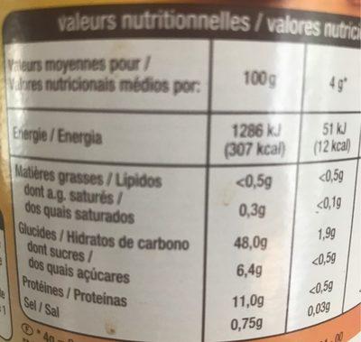 Chicorée café - Informations nutritionnelles - fr