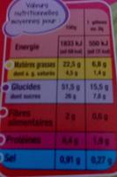 Mini gâteaux pépites de chocolat - Nutrition facts