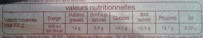 Cheveux d'ange - Nutrition facts