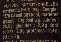 Mmm ! - Crème fraîche d'Isigny - Voedingswaarden - fr