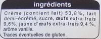 Préparation pour Crème Brûlée aux Œufs-frais - Ingredients