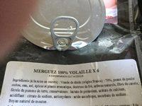 6 Merguez de Volaille - Ingrédients - fr