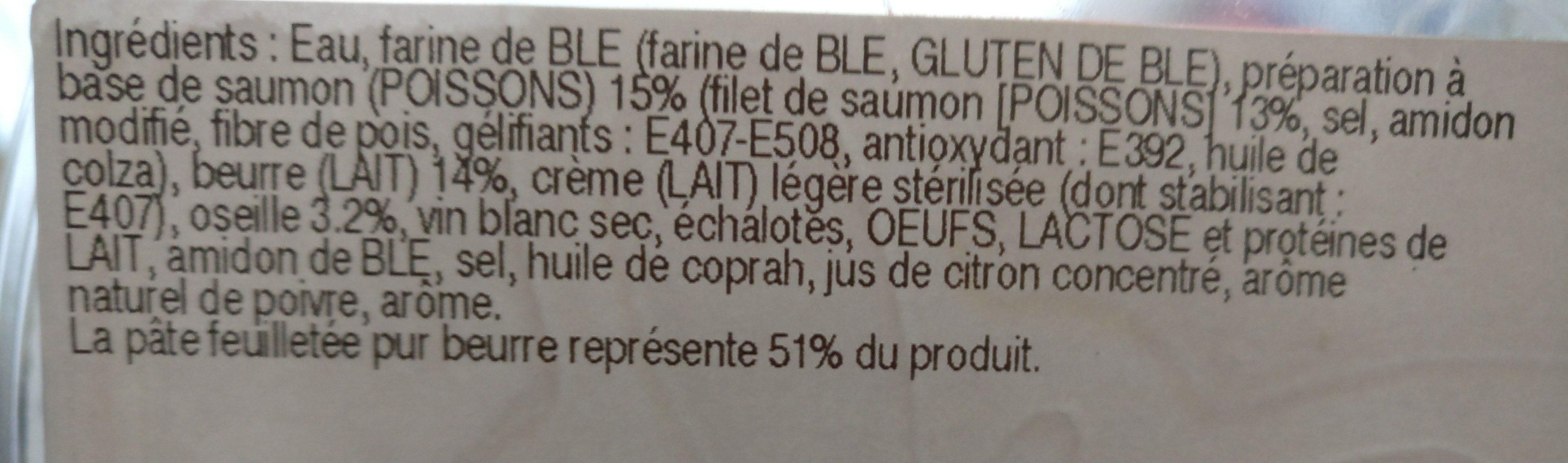 Feuilletée saumon oseille - Ingrédients - fr