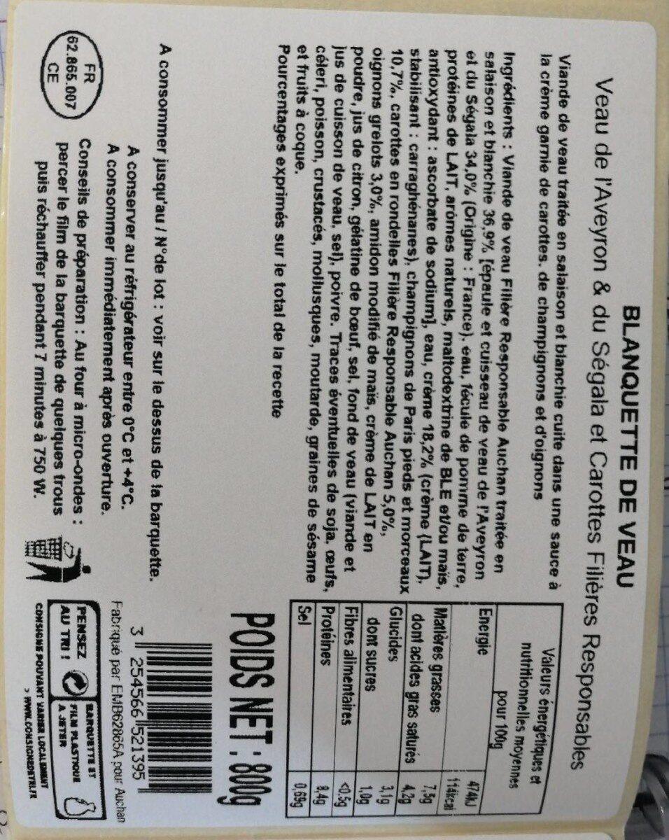 Micro Onde Au Dessus Du Four blanquette de veau - auchan - 800 g