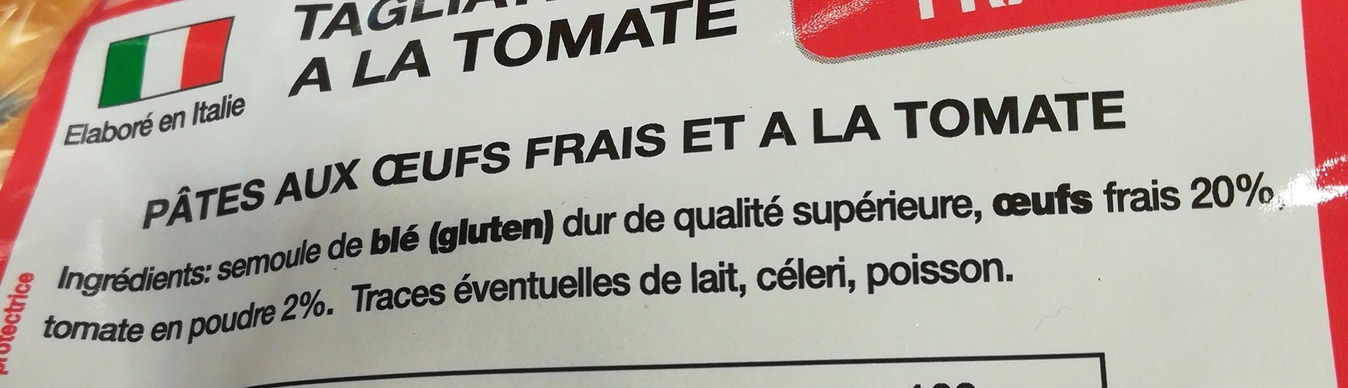 Tagliatelles tomates - Ingrédients - fr