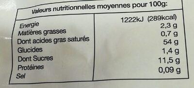 Tagliatelles tomates - Informations nutritionnelles - fr