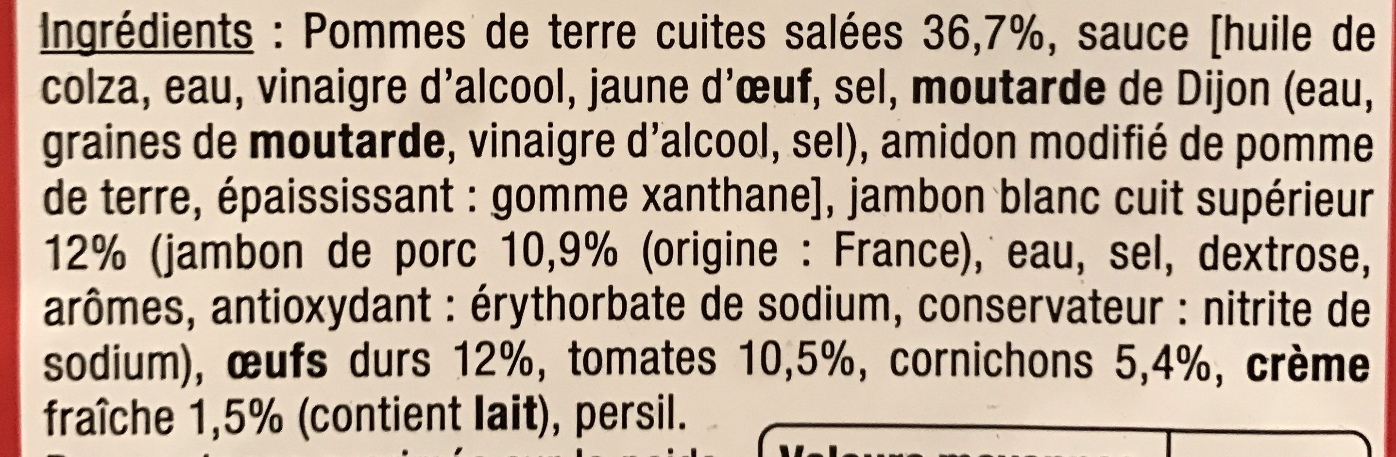 Le Traiteur - Piémontaise au jambon cuit supérieur - Ingrédients - fr