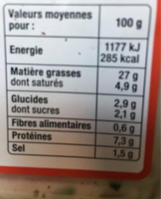 Cervelas sauce remoulade - Voedingswaarden - fr