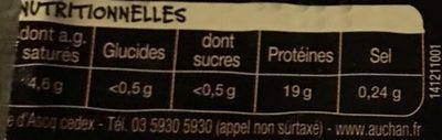 2 Steaks Hachés 10 % - Informations nutritionnelles