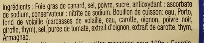 Foie gras de canard entier du Sud Ouest - Ingredients