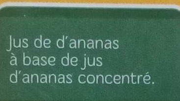 Jus d'Ananas - Ingrediënten