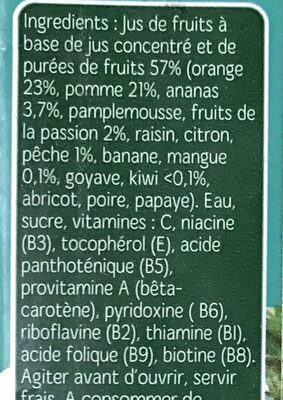 Nectar Multifruits Tropical - Ingredients - fr