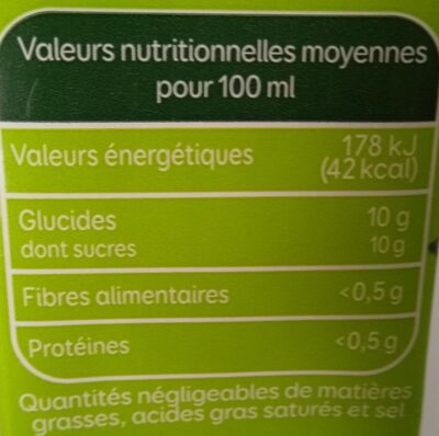 Nectar Multifruits - Nutrition facts - fr