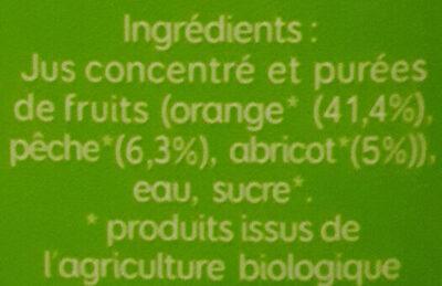Nectar orange pêche abricot - Ingrediënten
