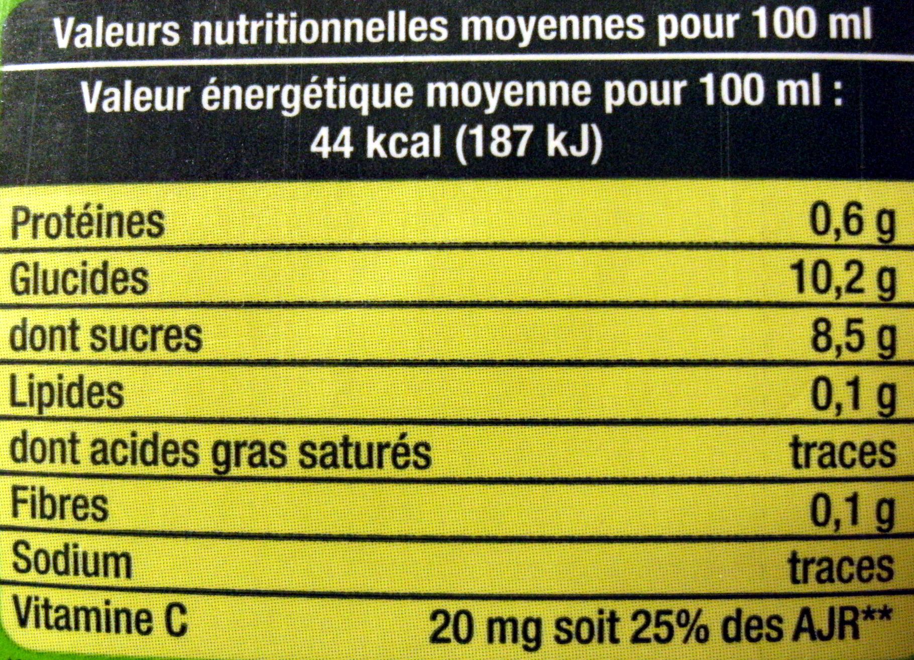 100 % Pur Jus Orange - Voedingswaarden - fr