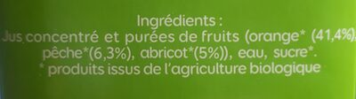 Jus d'orange pêche abricot bio - Ingrediënten - fr