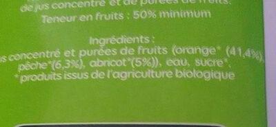 Jus d'orange pêche abricot bio - Ingrédients - fr