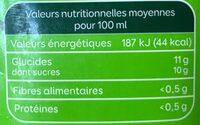 Jus d'orange pêche abricot bio - Voedingswaarden - fr