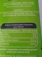 Jus d'orange pêche abricot bio - Informations nutritionnelles - fr