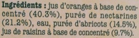 Cueillette Gourmande Orange Nectarine Abricot - Ingrediënten - fr