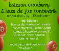 Cranberry Bio - Ingrédients