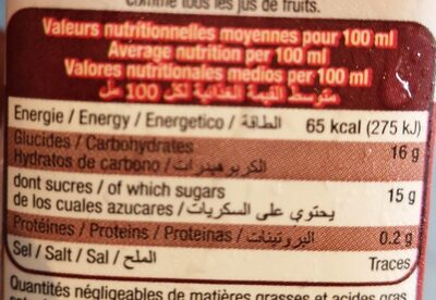 Lot 6 Recre 100% jus d'orange 20CL - Valori nutrizionali - fr