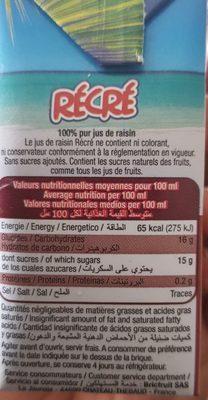 Pur jus de raisin 20cl - Ingredienti - fr
