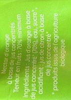 Le bio à emporter partout orange - Ingredients