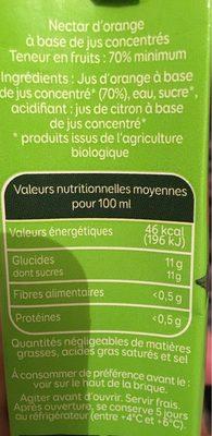 Le bio à emporter partout orange - Nutrition facts