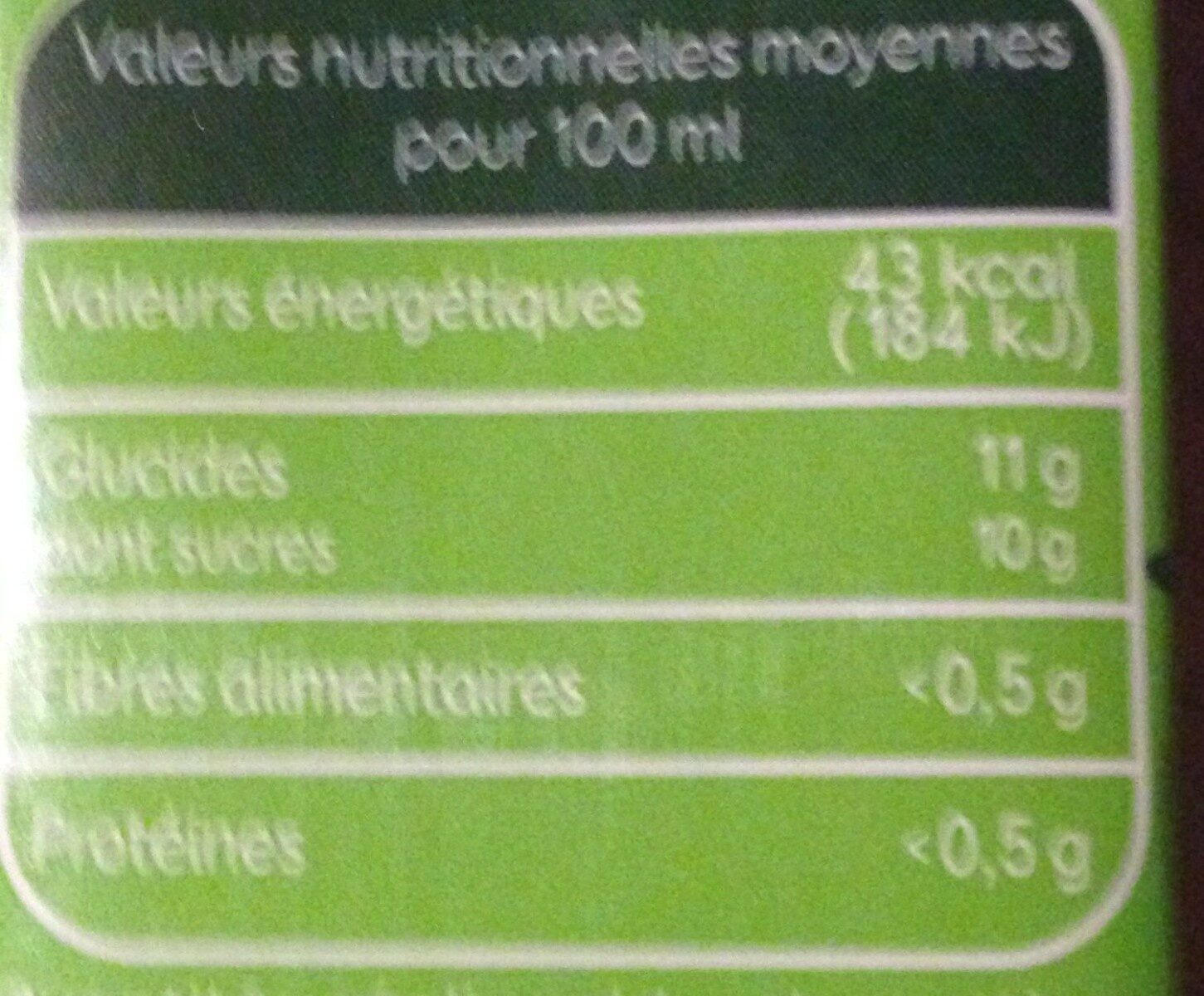 Nectar de pomme bio - Valori nutrizionali - fr