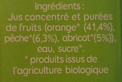 Bio Pressade nectar orange pêche abricot - Ingrediënten - fr