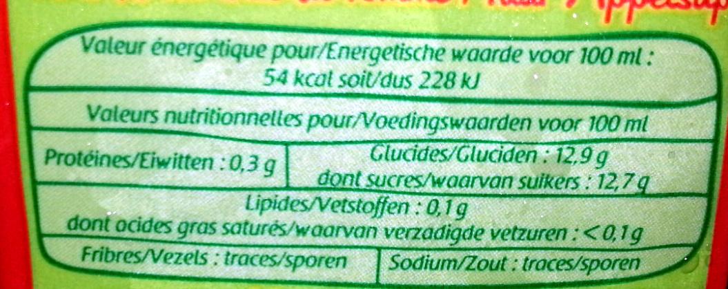 Bio appelsap - Informations nutritionnelles
