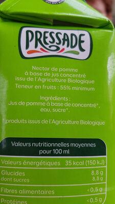 Nectar de pommes - Doux - Bio - Ingrédients - fr
