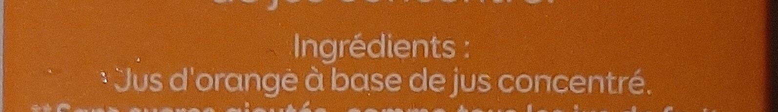 Bonjour teneur en fruits 100% orange - Ingrediënten - fr