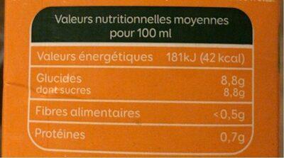 Bonjour teneur en fruits 100% orange - Voedingswaarden - fr