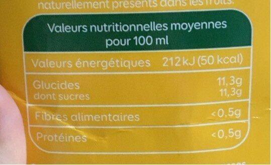 Jus d'ananas - Voedingswaarden - fr