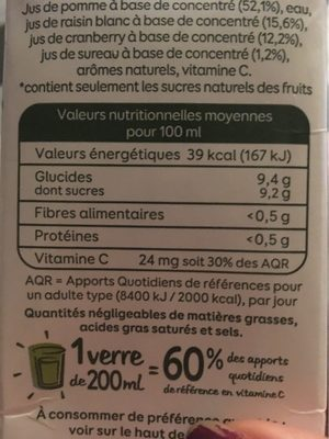 superfruits - Informations nutritionnelles - fr