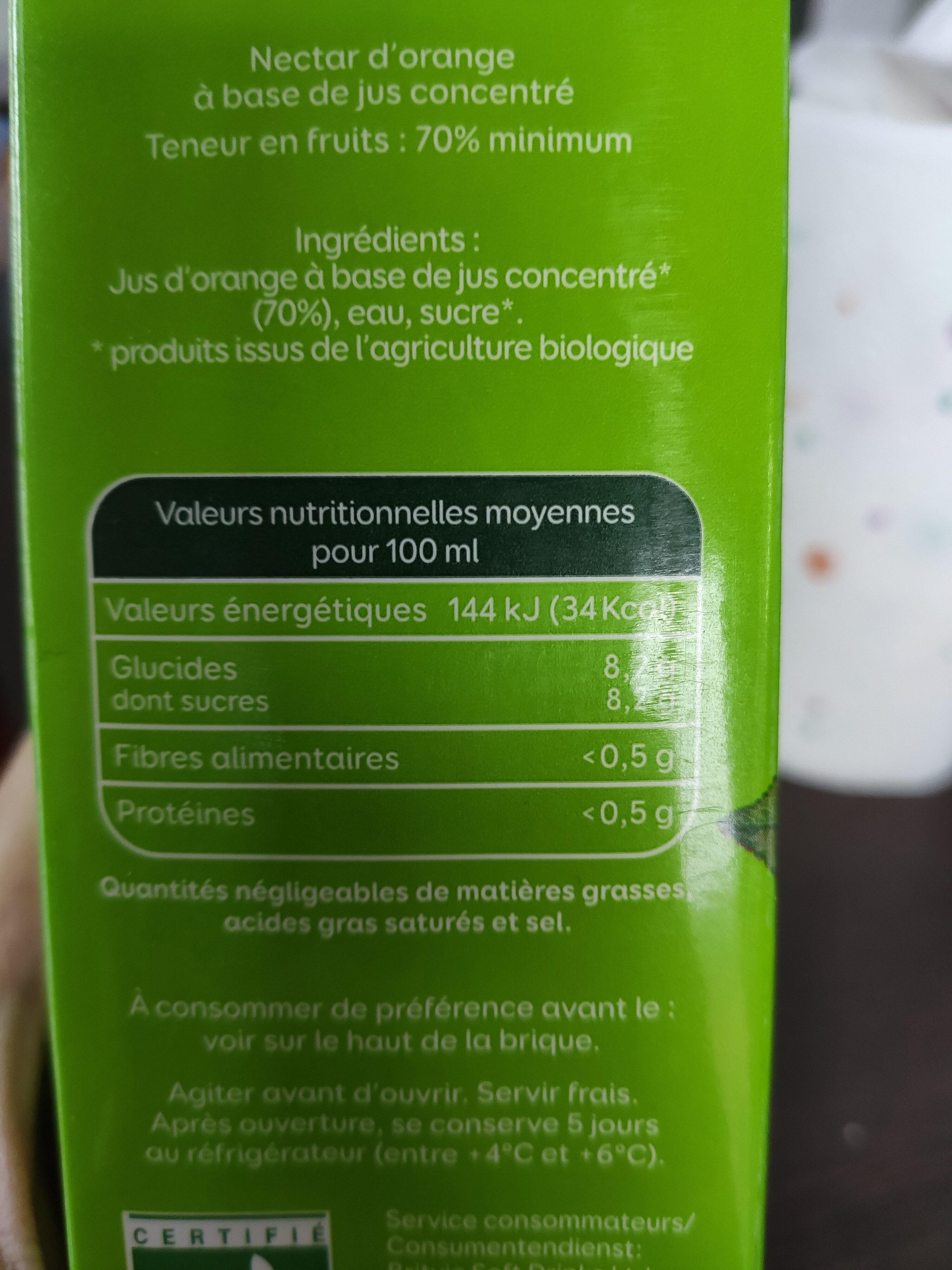 Pressade bio orange - Voedingswaarden - fr