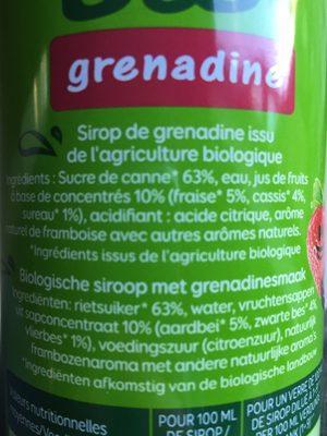 Sirop Grenadine - Ingredients - fr