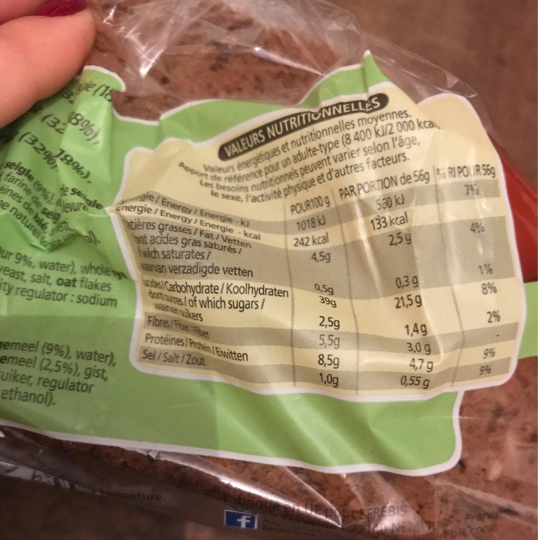 Pain aux 7 cereales calories