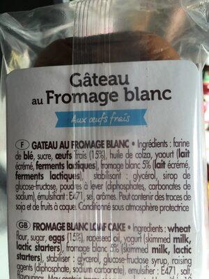 Barre Au Fromage Blanc Et Aux Oeufs Frais - Ingrédients - fr