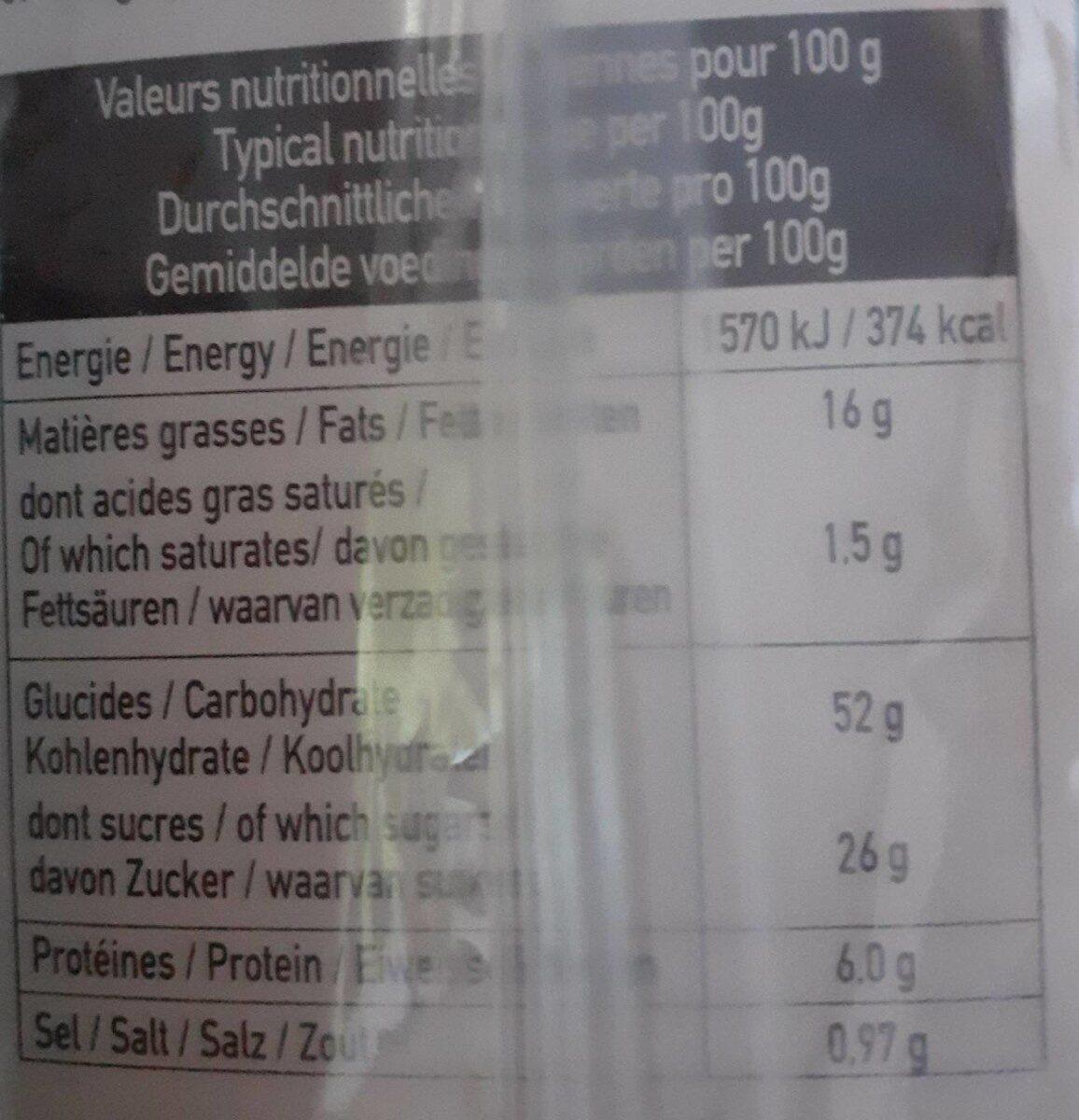 Barre Au Fromage Blanc Et Aux Oeufs Frais - Informations nutritionnelles - fr