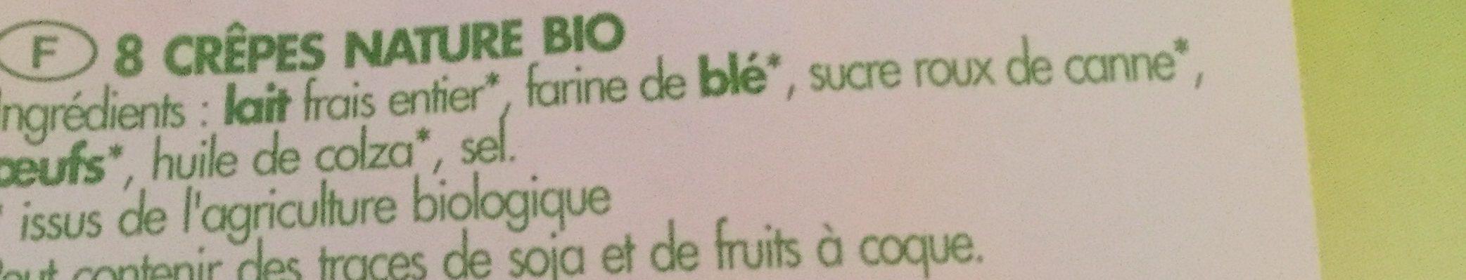 Crêpes nature bio - Ingredients